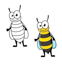 Cartoon yellow jacket wasp insect character vector image vector image