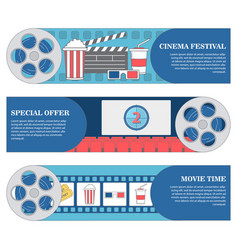 cinema festival horizontal banners set of vector image vector image