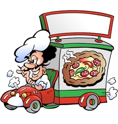 Hand-drawn of an Italien pizza dilevery car vector image vector image