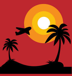 island with black silhouette of palm trees and vector image vector image