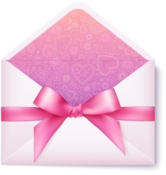 Pink open envelope with pink bow vector image vector image