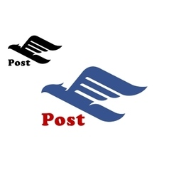 Post symbol with abstract blue bird vector image vector image