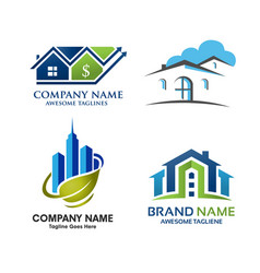 Real estate home and property logo set vector