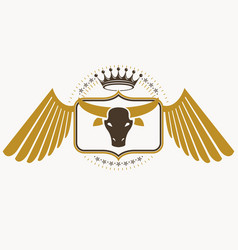 retro label design decorated with eagle wings and vector image