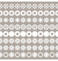 set of flower borders floral elements vector image