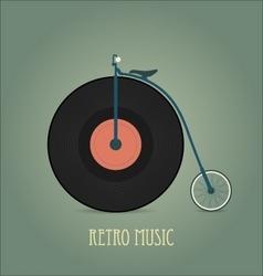 Black vinyl disk Vintage record Retro music vector image vector image