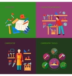 Carpentry Flat Icons Set vector image vector image