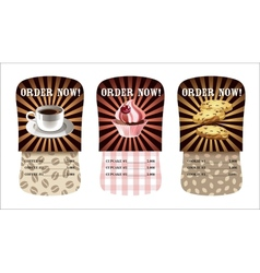 coffee cupcake and cookies design templates vector image