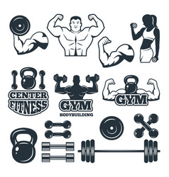 different symbols and badges set for fitness club vector image