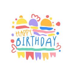 happy birthday logo colorful hand drawn vector image vector image