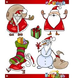 Santa and Christmas Themes Cartoon Set vector image