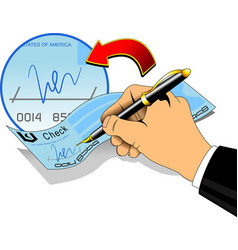 signature on a bank check vector image vector image