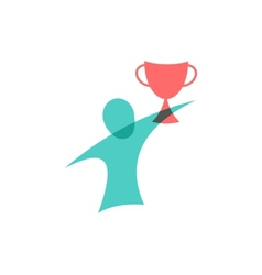 Winner with the cup icon Logo design vector image