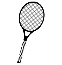 black silhouette tennis racket element sport vector image