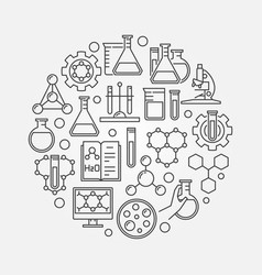 education and chemistry circular symbol vector image vector image
