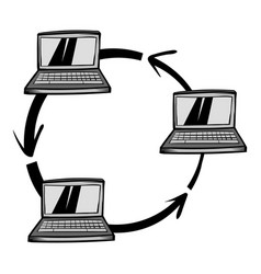 exchange of data between three computers icon vector image vector image