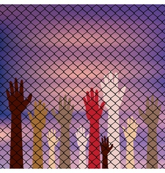Hands Behind a Wire Fence vector image vector image