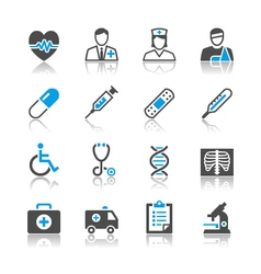 Healthcare icons reflection vector image