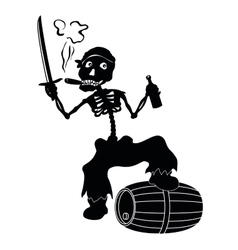 Jolly Roger skeleton black silhouettes vector image