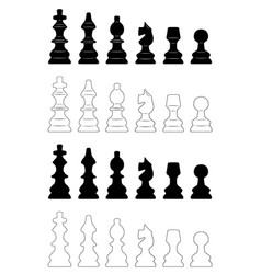 set of different chess pieces vector image vector image