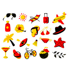 summer beach objects set vector image vector image