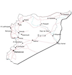 Syria Black White Map vector image vector image
