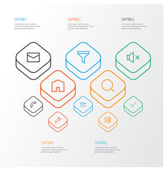 user outline icons set collection of mute repair vector image