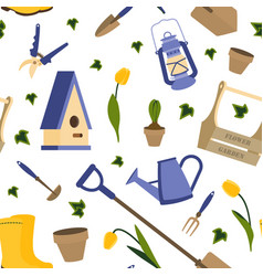 with gardening tools vector image