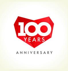 100 anniversary heart logo vector