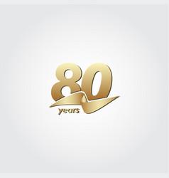 80 years anniversary celebration gold ribbon vector