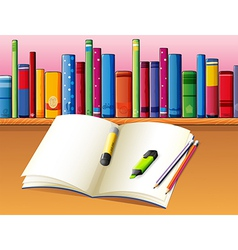 An empty book in front of the wooden shelf with vector image