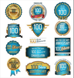 Anniversary blue and gold labels 100 years vector