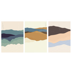 art landscape background with japanese wave vector image