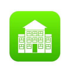 bank building icon digital green vector image