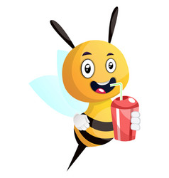 bee drinking juice smiling on white background vector image