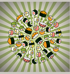 big rounded sushi set vector image