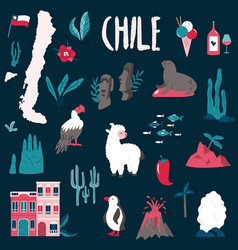 big set landmarks symbols chile south vector image