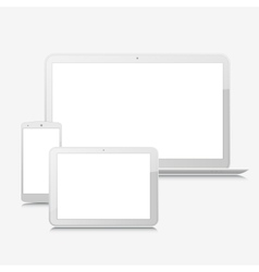 Blank laptop smartphone and tablet mock-up vector image