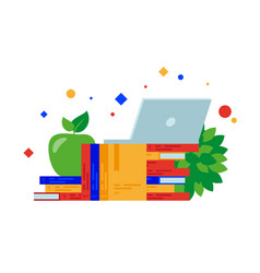 books laptop and green apple vector image