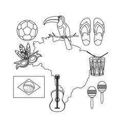 Brazilian map with culture icons vector