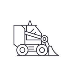 bulldozer line icon concept bulldozer vector image