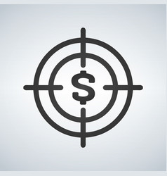 business goals concept with money in crosshair vector image