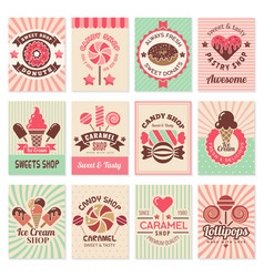 Candy shop cards sweet food desserts vector