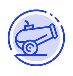 Canon weapon blue dotted line line icon vector