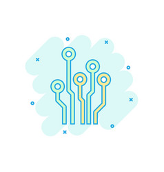 cartoon colored circuit board icon in comic style vector image