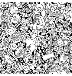 Cartoon cute doodles hand drawn medicine seamless vector