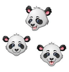 cartoon panda head set vector image
