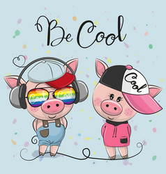 Cartoon pigs boy and girl in caps vector