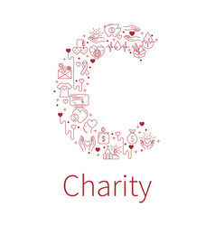 charity banners from capital letter shape vector image