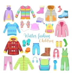 Children Winter Clothes and Accessories Collection vector